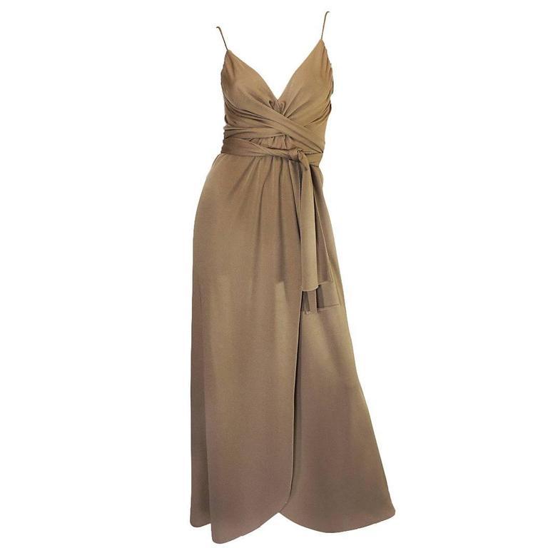 1970s Stephen Burrows Slinky Taupe Jersey Wrap Dress 1