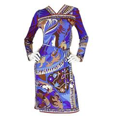 1960s Emilio Pucci Brilliant Printed Silk Jersey Dress