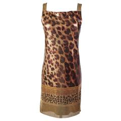 New Versace Versus Metal Mesh Animal Print Dress