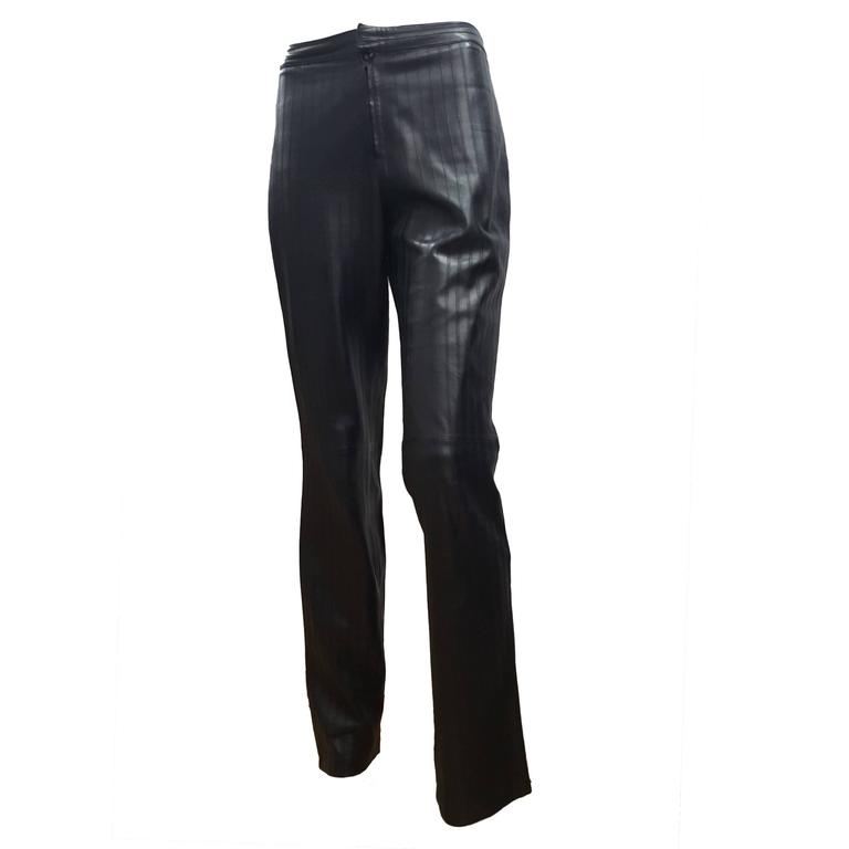 1990s Gucci Iconic Must Have black leather trousers by Tom Ford 1