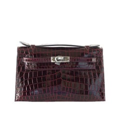 Hermes Kelly  Pochette Clutch Bag Rare Bordeaux Crocodile Palladium