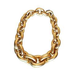 Monies Gold Foil Acacia Wood Link Necklace