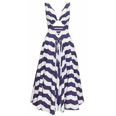 Exceptional rare Alaia Striped Cotton Cocktail Dress, Spring/Summer 1990