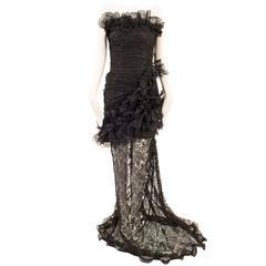 Emanuel Ungaro haute couture black strapless gown, circa 1997