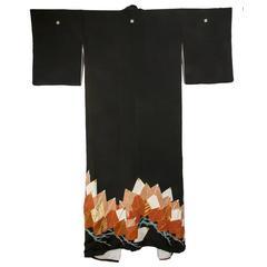 Beautiful Vintage Japanese Silk Kimono C1960s