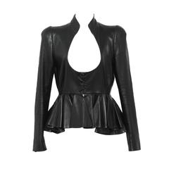 Alexander McQueen Black Lamb Skin Leather Jacket