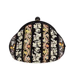 Vintage Judith Leiber Antique Ribbon Black and Crystals Evening Handbag Clutch