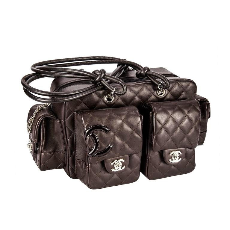 c94596dc8445 Signature Chanel Vintage Double Pocket Brown Quilted Leather Tote Handbag  For Sale