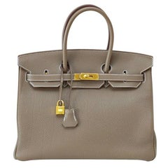 Hermes Birkin 35 Bag eToupe Coveted w/ Gold Hardware Togo Leather