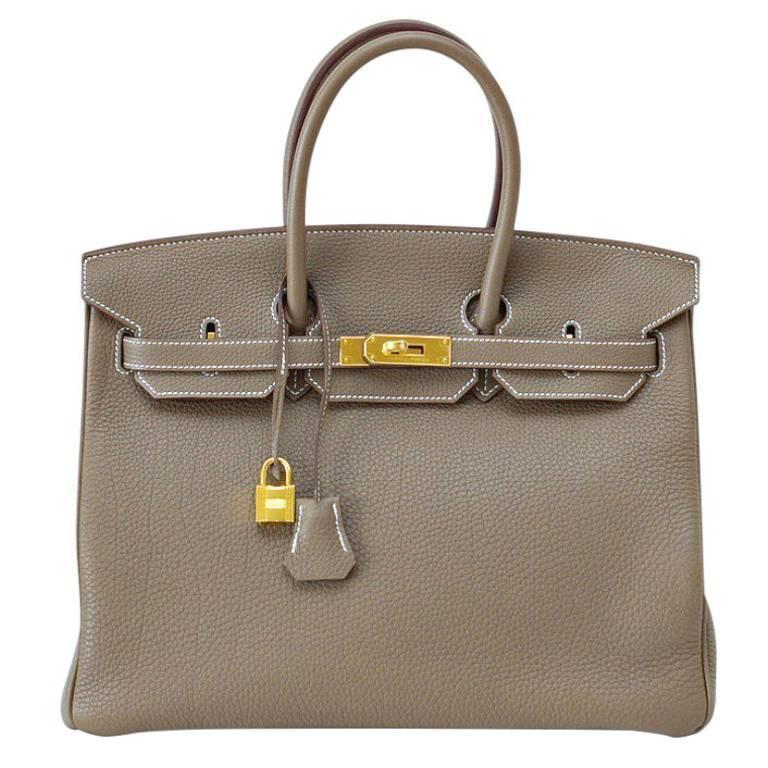 Hermes Birkin 35 Bag eToupe Coveted w/ Gold Gardware