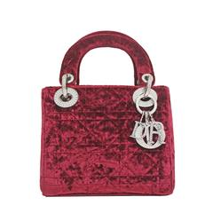 1990s Christian Dior Red Velvet Miniature Lady Dior Bag