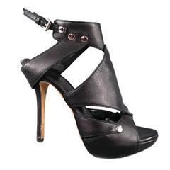 CHRISTIAN DIOR Size 6.5 Black Leather -EXTREME- Gladiator Platform Sandals