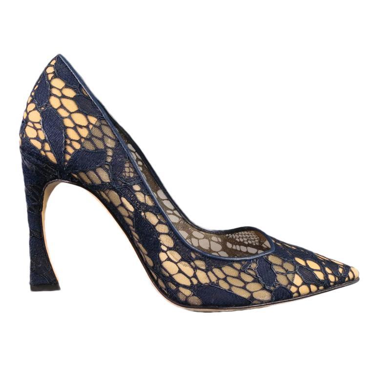 3c83e45a26 CHRISTIAN DIOR Raf Simons Size 6 Navy Lace Pointed Toe Songe Curved Heel  Pumps For Sale
