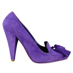 YVES SAINT LAURENT Size 6 Purple Suede Tassels Loafer - Saint GERMAN- Pumps