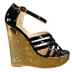 YVES SAINT LAURENT Size 6 Black Patent Leather Woven Strap Gold -IDOLE- Wedges