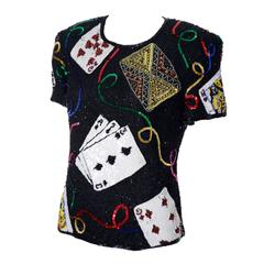 Laurence Kazar Silk Beaded Lawrence Kazar Vintage Top Cards Gambling Dead Stock