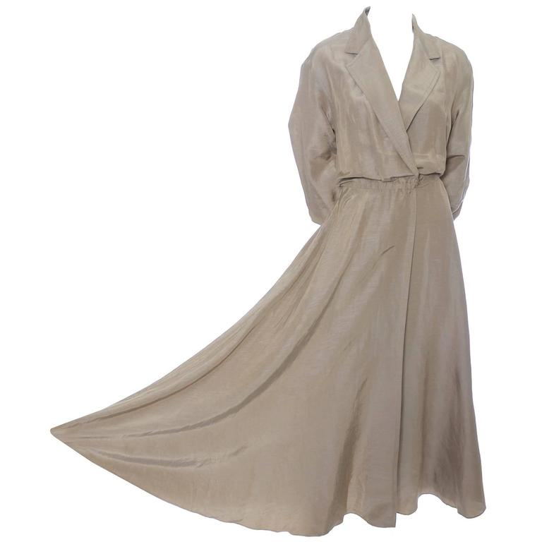 Donna Karan New York Linen Silk Vintage Dress Bronze Taupe Pockets 8 For Sale