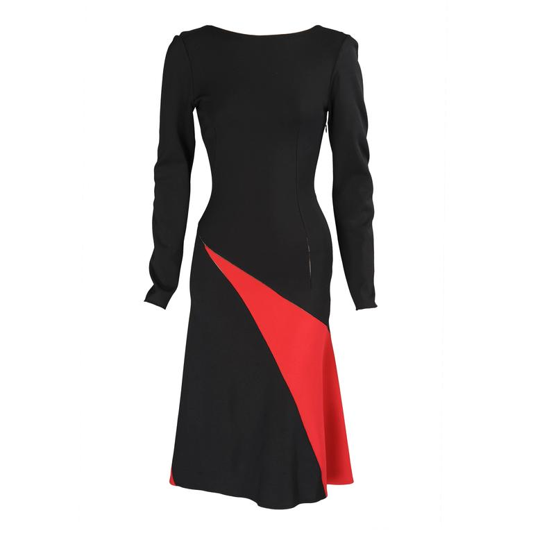 Alaia Graphic Black & Red Dress with Open Seams & Low Back