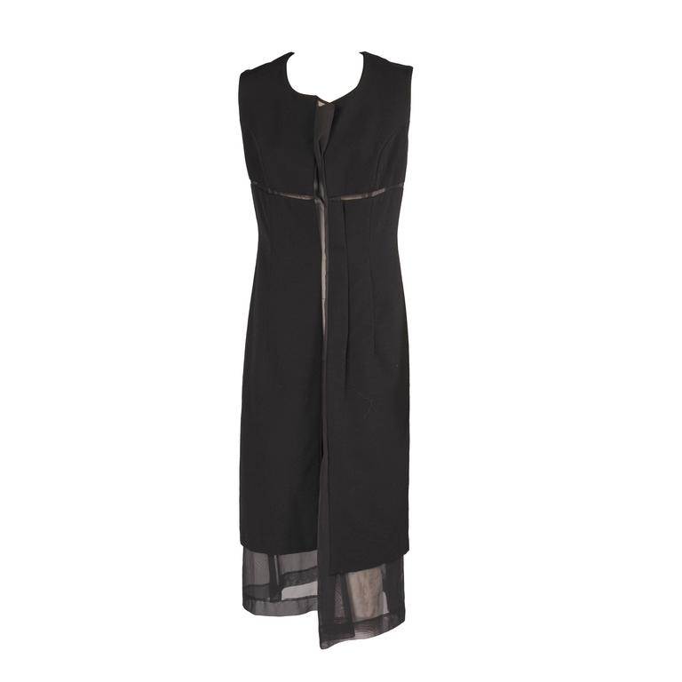 Comme Des Garcons Black Dress With Sheer Center Panel For Sale At