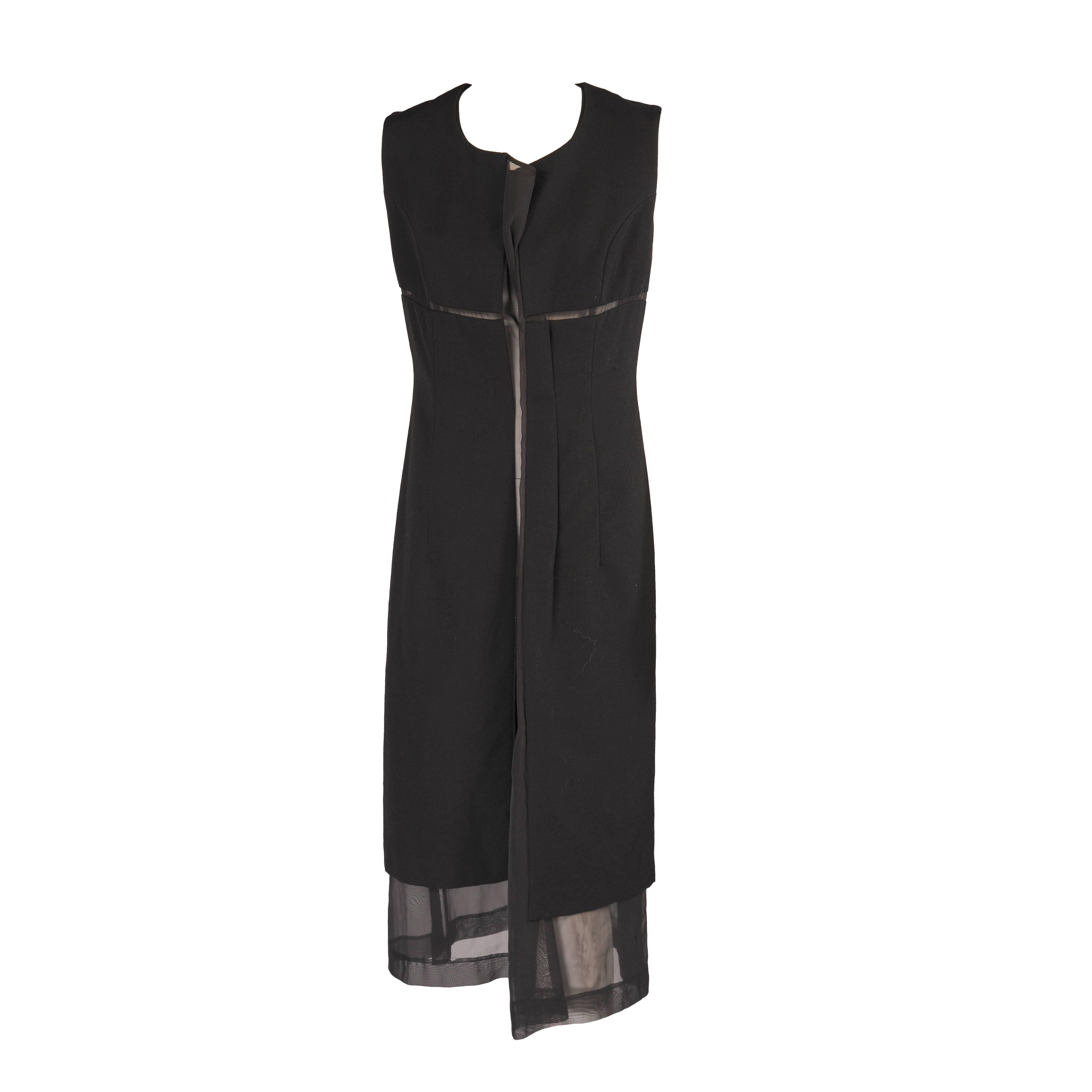 335107546153 Comme des Garcons Black Dress with Sheer Center Panel For Sale at 1stdibs