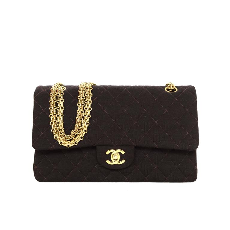 7e65a027948180 Chanel Brown Quilted Jersey Medium Classic Double Flap Bag GHW For Sale