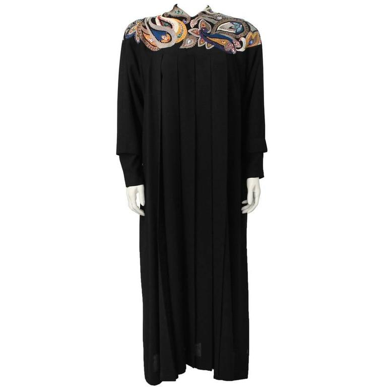 1980's Emmanuelle Khanh Black Wool Gown with Paisley Embroidery