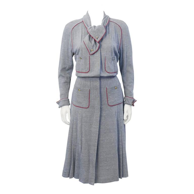 1980's Chanel Grey Wool Shirtdress For Sale