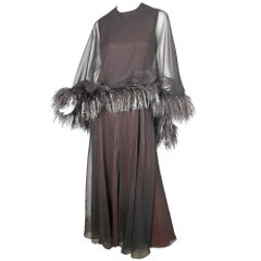 Harold Levine Chiffon Gown with Feathers