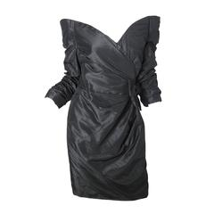 Scaasi Black Taffeta Off the Shoulder Cocktail Dress - sale
