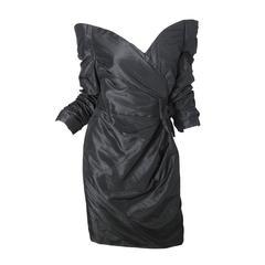 Scaasi Black Taffeta Off the Shoulder Cocktail Dress