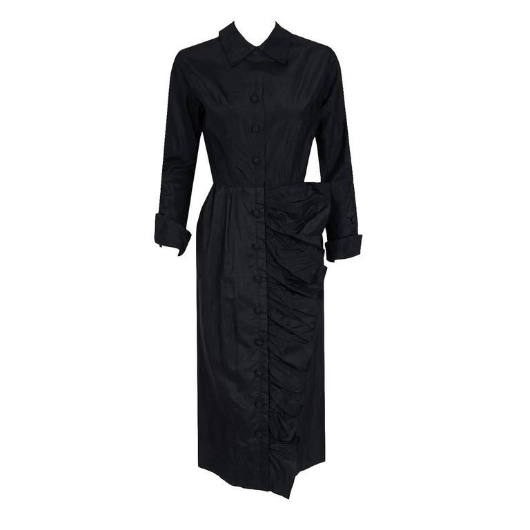 1954 Christian Dior Original Black Silk-Taffeta Asymmetric Ruffle Cocktail Dress For Sale