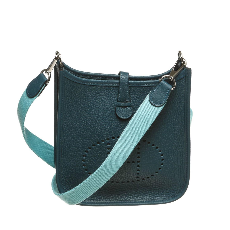 Hermes Blue Togo Leather Evelyne TPM Handbag at 1stdibs