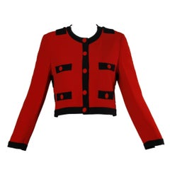 Moschino Vintage 1990s Red + Black Color Block Jacket