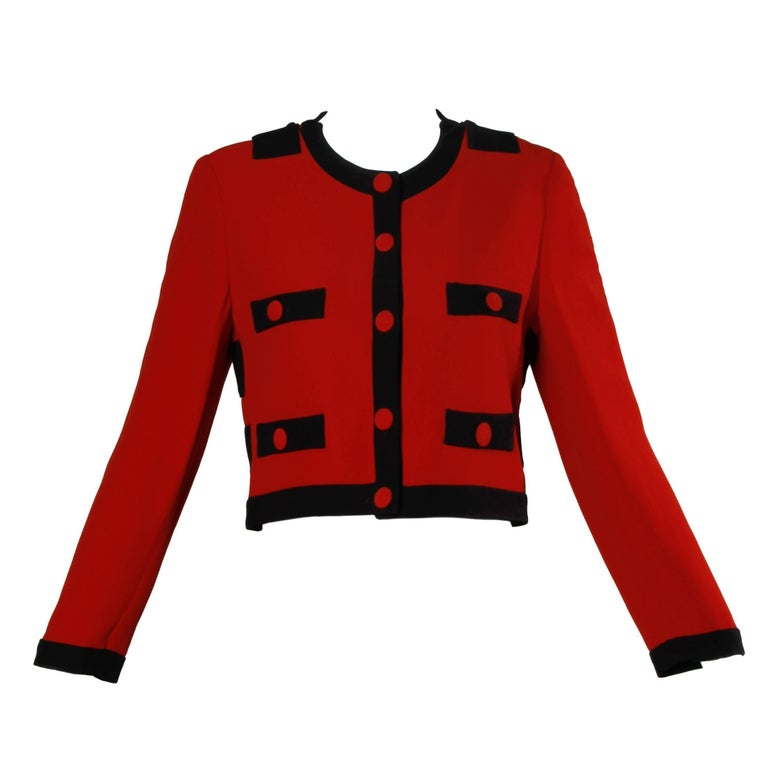 Moschino Vintage 1990s Red + Black Color Block Jacket For Sale