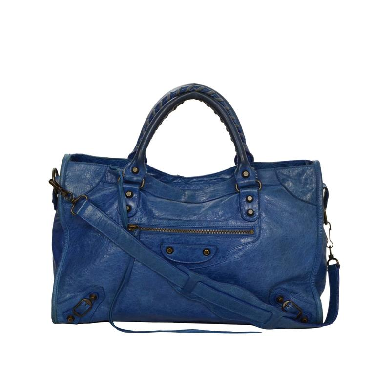 "Balenciaga Blue Distressed Leather ""City"" Bag BHW For Sale"