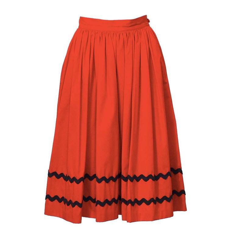 1970's Yves Saint Laurent YSL Red Skirt with Black Chevron Detailing 1