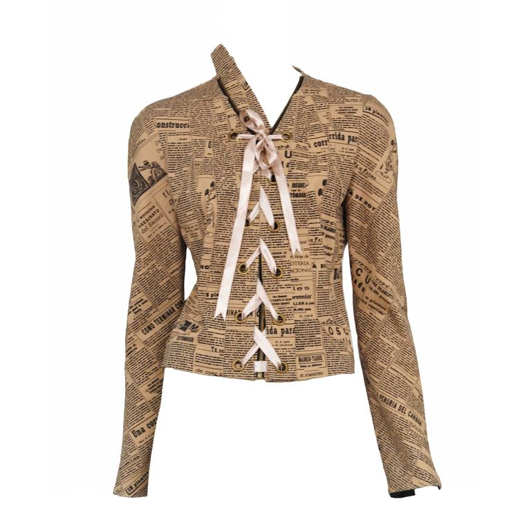 John Galliano Newsprint Jacket  1