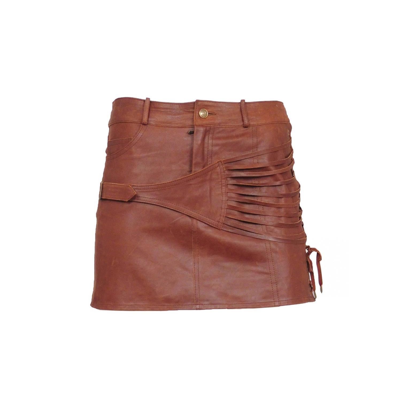 galliano brown leather mini skirt at 1stdibs