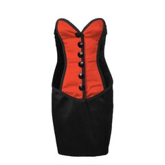 1980's Yves Saint Laurent YSL Red and Black Bustier and Skirt Ensemble