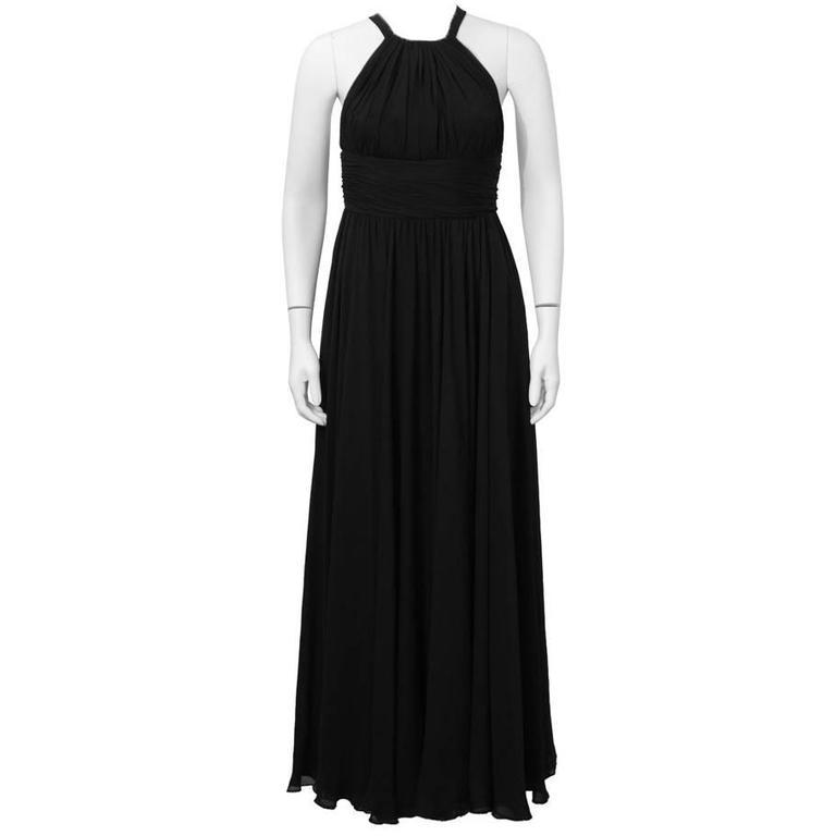 1960's Galanos Black Silk Chiffon Gown