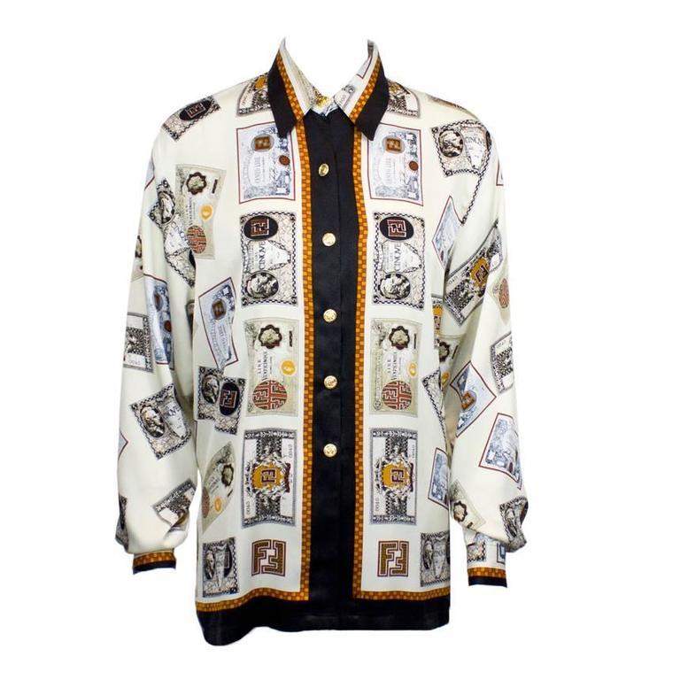 1980's Fendi Cream 'Money' Print Silk Blouse 1