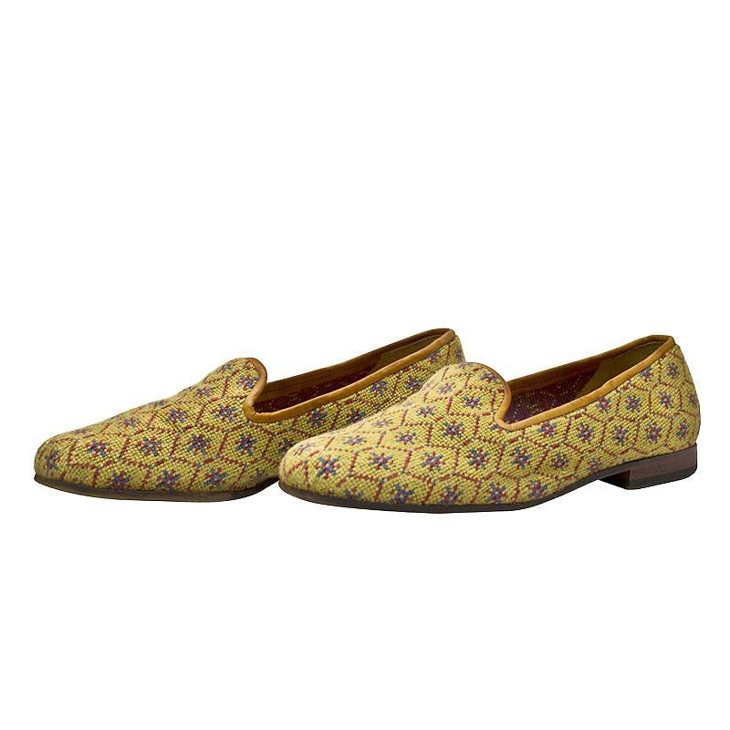 1990's Stubbs and Wootton Honeycomb Pattern Needlepoint Slippers