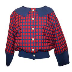 Chanel Red and Blue Windowpane Print Jacket w/ Pearl Buttons - 42