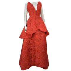 Nina Ricci Couture Red Corded Lace Evening Ensemble