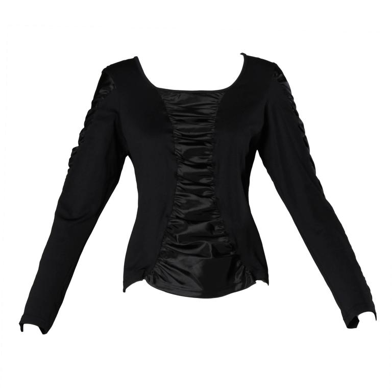 Anne Fontaine French-Made Ruched Long Sleeve Top or Shirt For Sale