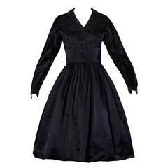 1950s Rappi Vintage Navy Blue Heavy Silk Satin New Look Dress
