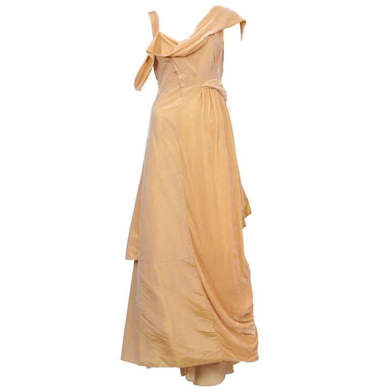 John Galliano Peach Velvet Gown  1