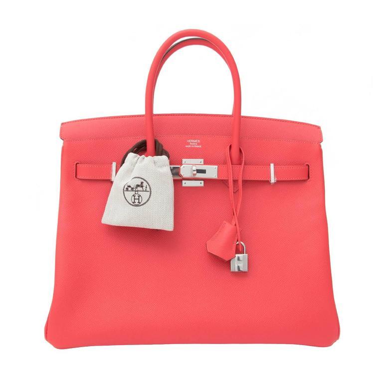 BRAND NEW Hermès Birkin Bag 35 Epsom Rose Jaipur PHW  For Sale