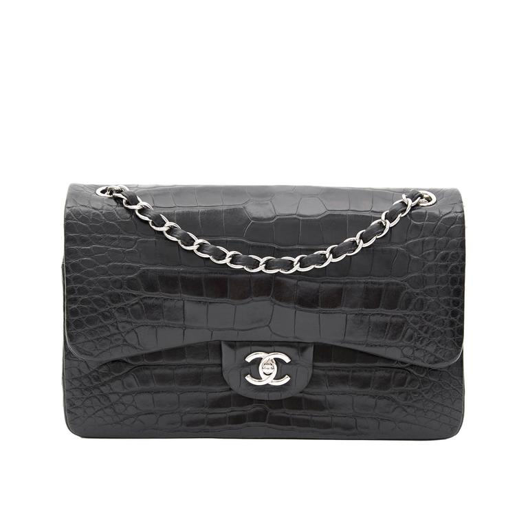 0d964389359f32 Rare Chanel Alligator Jumbo Double Flap Black For Sale at 1stdibs