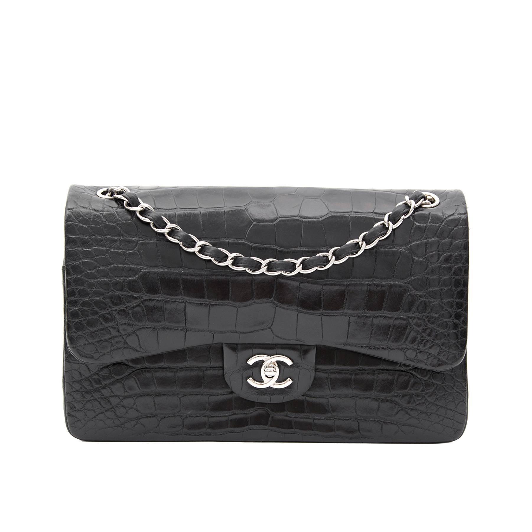 f3cf2c444296 Rare Chanel Alligator Jumbo Double Flap Black For Sale at 1stdibs